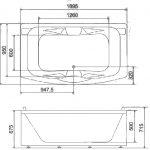 Акриловая ванна BellSan Соната 1900x1090x680